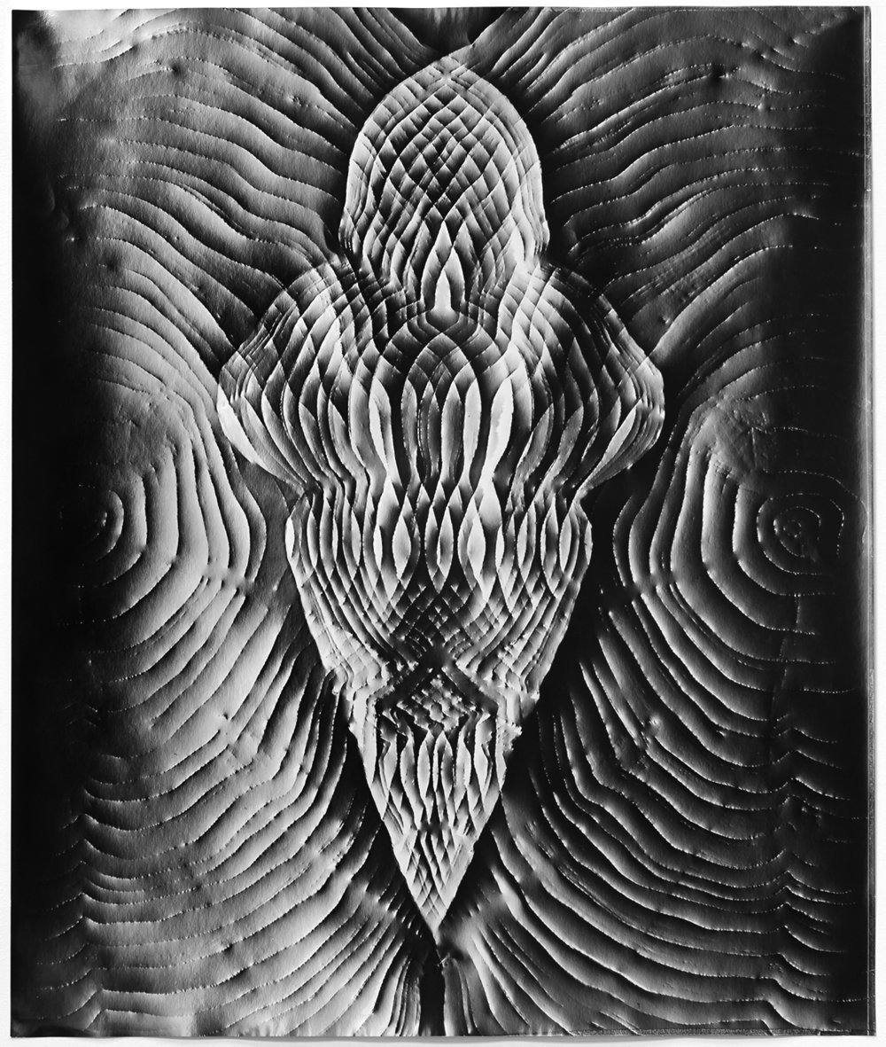 KLEA MCKENNA Automatic Earth #81, 2017 Photographic rubbing. Unique gelatin silver photogram.  24 x 20 in., frame: 27.5 x 23.5 in.