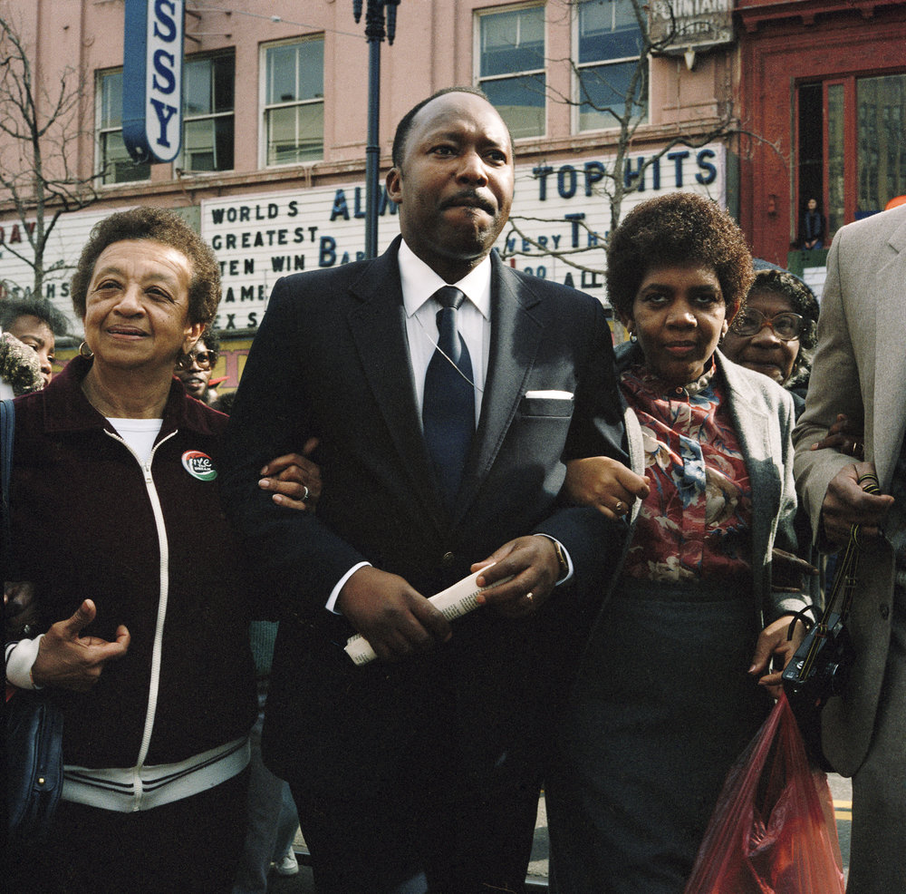 JANET DELANEY  Dexter King, Son of Martin Luther King, at First Martin Luther King Day Parade,  1986 from  Public Matters  Archival Pigment Print, 2018 9 x 9 in.; frame: 15 x 15 in. Edition of 7 + 2AP