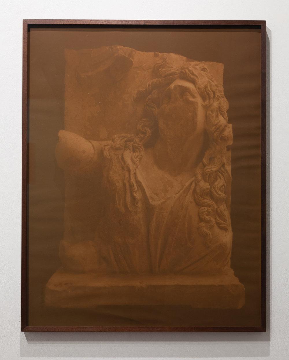 CHRISTINE ELFMAN  Ge , 2017 Anthotype (tiger lily dye on paper) 39 x 30.5 in Edition varée 1/2 + 1AP