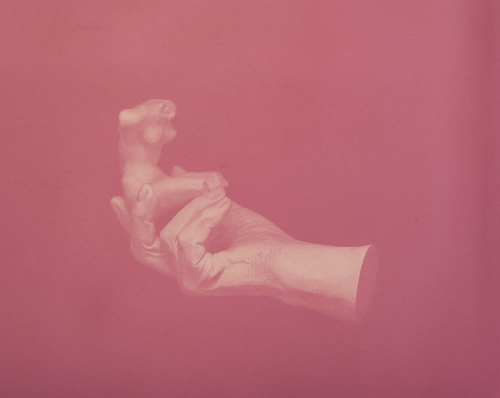 CHRISTINE ELFMAN  Hand of Rodin Holding a Torso , 2016 Anthotype (Amaranth dye on paper) 12 x 15 inches Edition varée of 3 + 2AP