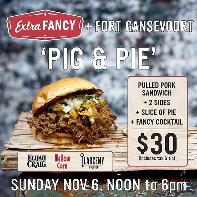 We are taking over @extra_fancy for a day of beautiful #bbq #pork and #delicious #pie this Sunday. $30 gets you a sandwich, #Umami Mac, FG beans, an adult beverage, and a piece of pie!! Stretch your Sunday dollar and come say hi!
