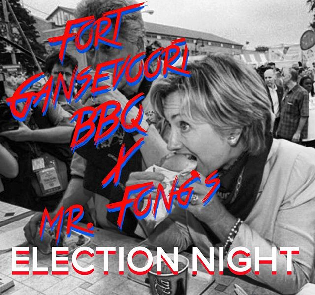 Election night party @mrfongsnyc tonight with pulled pork & pulled chicken sliders by us tonight at 8pm #wearewithher #hillaryclinton