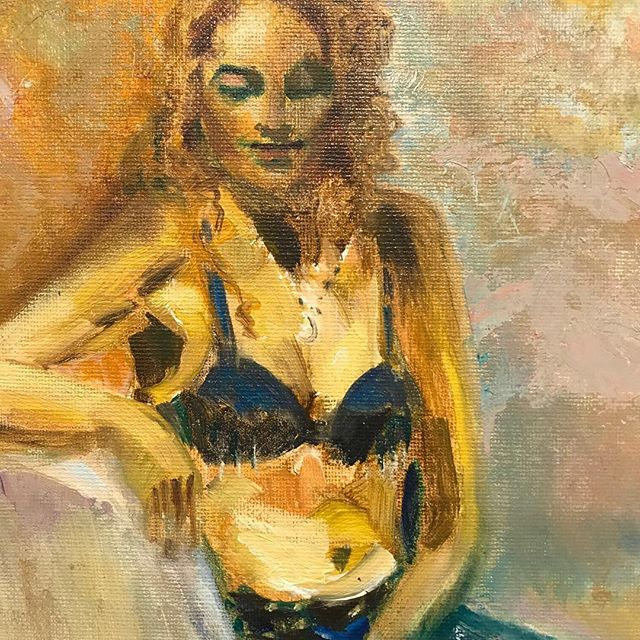 Belly dancer in between sets.  Joyce Matthews.  Oil⠀ ⠀ ⠀ Come see this and other amazing pieces at our In the Mood show! #theartscolony #coronaarts #coronaheritagepark #gallery #art #artgallery #supportlocalartists