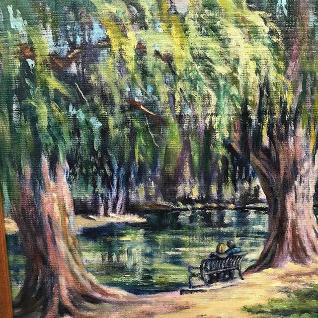 Painted at Fairmount Park, a wonderful place for relaxation, and communing with nature. Rebecca Steelman.⠀ ⠀ ⠀ Come see this and other amazing pieces at our In the Mood show! #theartscolony #coronaarts #coronaheritagepark #gallery #art #artgallery #supportlocalartists