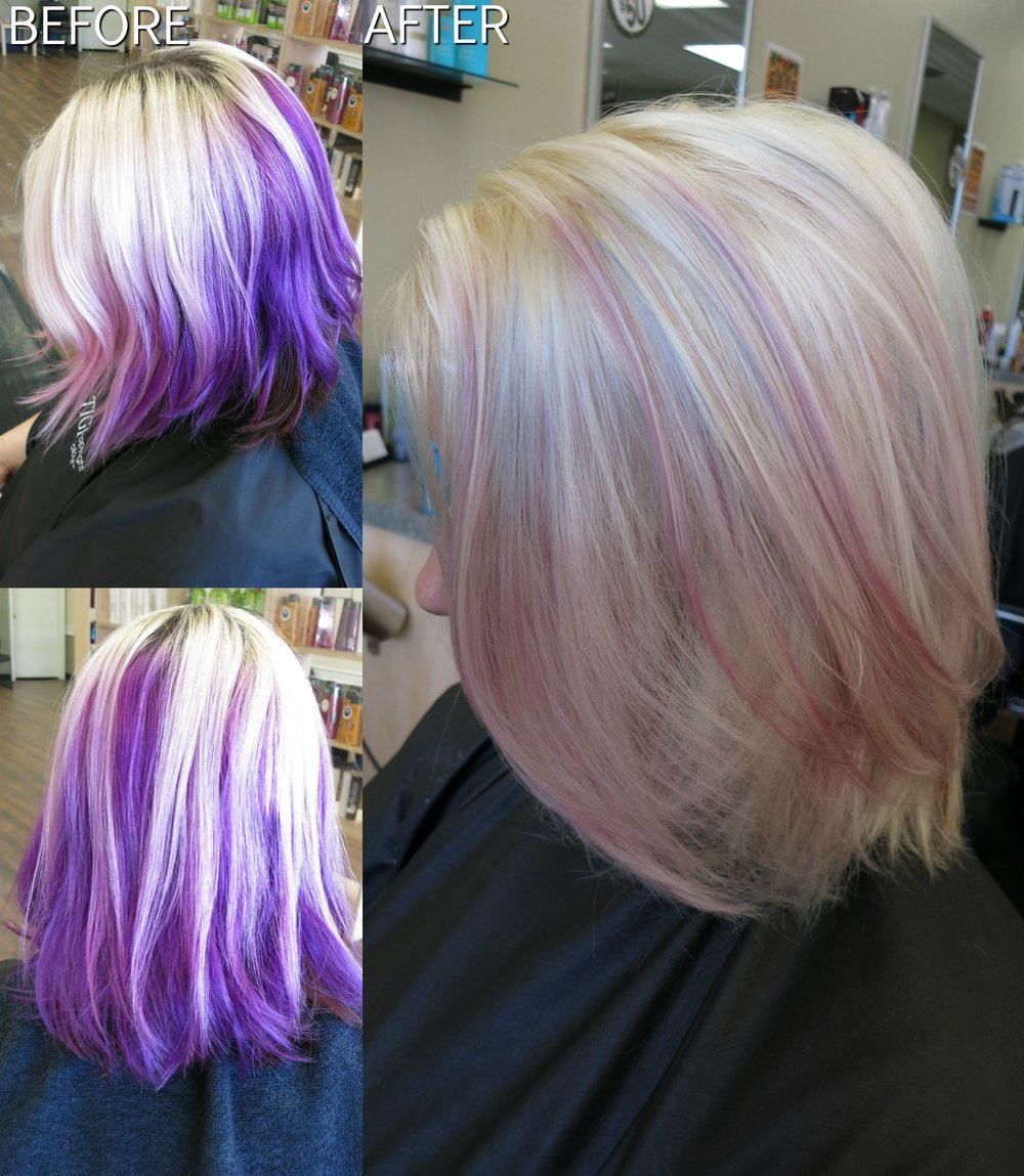 Removal of purple color, lightening of ends and roots, and placement of light pastel shades of purple, blue and pink, with a haircut, treatment and style done by Angela Woodward