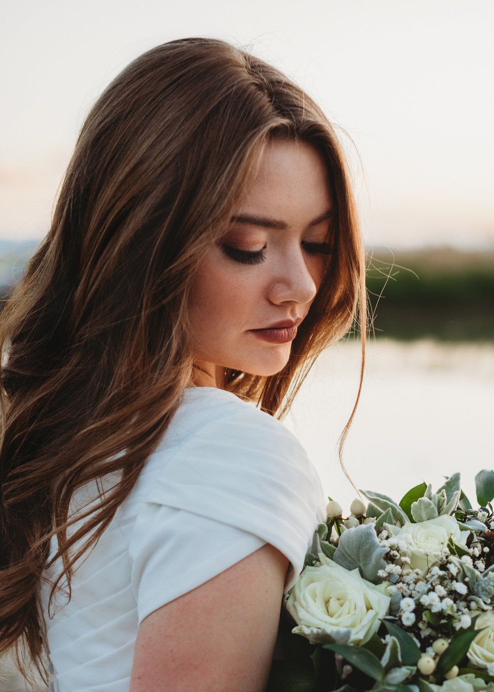 Bridal Makeup and Formal Styling by Angela Woodward Cosmetology   Photographed by Miranda Farnsworth Photography   Model - Olivia Hall Bouquet - Creative Wedding Events Utah Gown - Something Borrowed Bridal