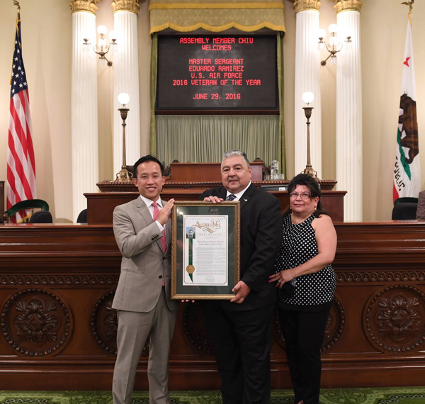 """Big Congratulations to OneVet OneVoice founder and CEO Eduardo """"Eddie"""" Ramirez, who was named a 2016 California Veteran of the Year! Assemblymember David Chiu presented the award at the California State Capitol in Sacramento."""