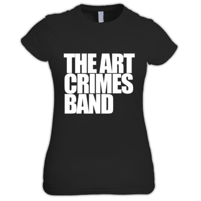 THE ART CRIMES BAND WHITE TEXT WOMEN'S. Available in various colors and sizes. Ships worldwide.  CLICK TO BUY @ DIZZYJAM