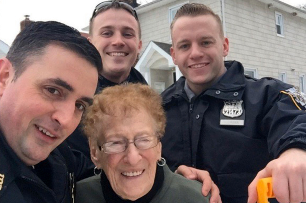 NYPD Officers Cosmo Lubrano, Ryan Cloghessy, Shane Filomena, and Ms. Dombeck; Photo: NYPost.com