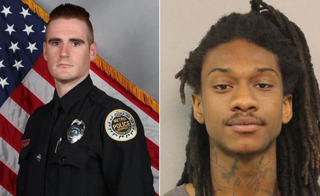 Officer Matthew Cammarn and suspect Brian Shannon;  Photo: Metro Nashville Police Dept.