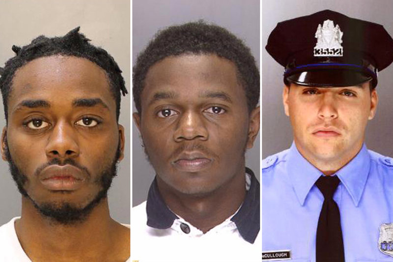 Suspects Scott Griffin (l), and Samir Coyett (c), Officer James McCullough (r); Photo:  Philly Police Dept.