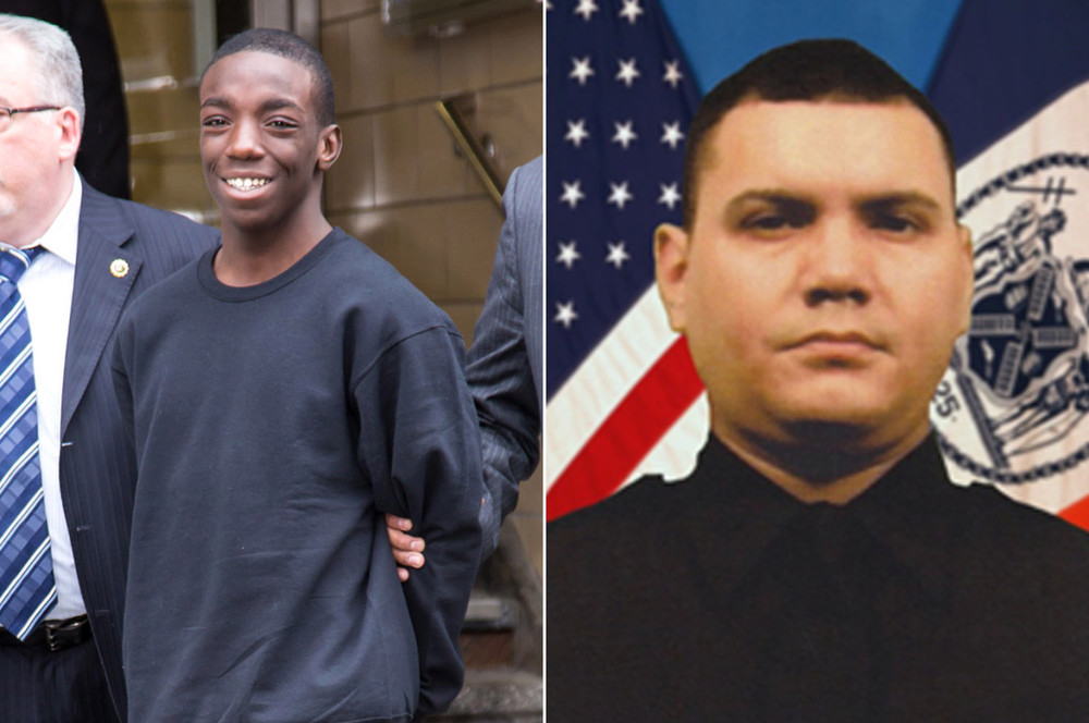 Marcell Dockery (l) and Officer Dennis Guerra (r);  Photo: Stefan Jeremia, NYPD, via nypost.com