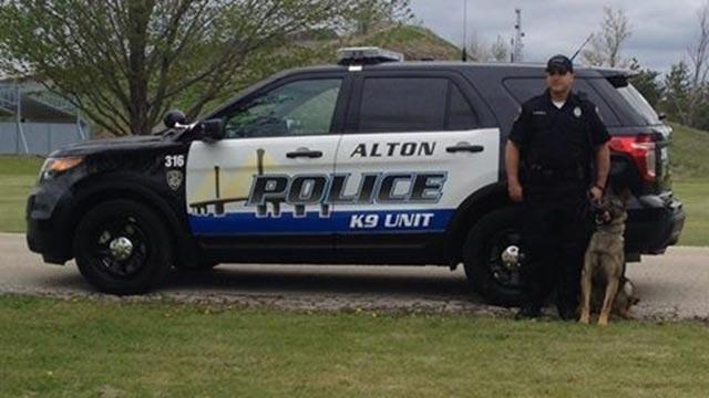 K9 Jax and his handler; Photo: Alton Police Dept.