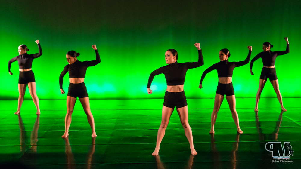 """Battle""  Dancers: Katie Book, Colleen Dougherty, Danielle Mcgilligan, Alex Monte Carlo, Kelli Moshen  Photo credit: Bicking Photography"