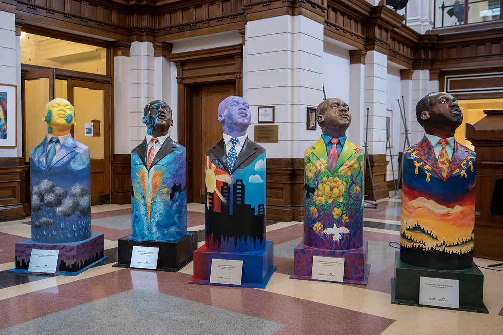 Sculptures painted by students at the Philadelphia High School for Creative and Performing Arts