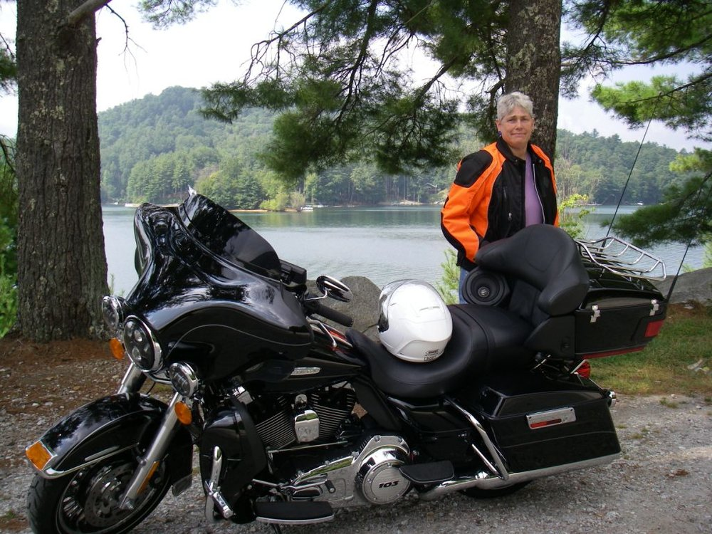 Marianne taylor in north carolina with her harley davidson motorcycle