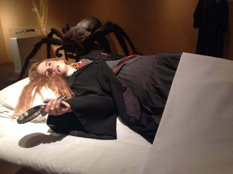 """A """"petrified"""" Hermione wax figure and spider figure from  Harry Potter and the Chamber of Secrets."""