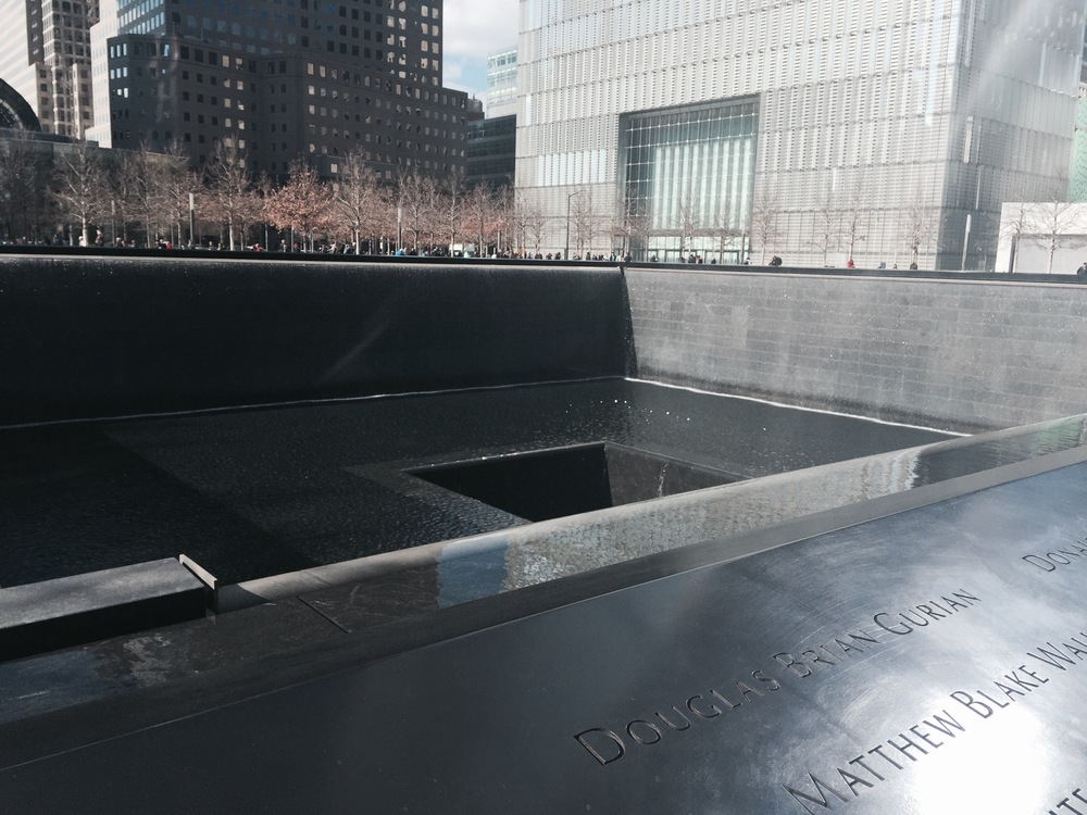One of the large fountains marking where one of the Twin Towers once stood.