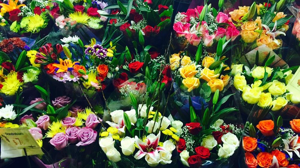 A flower stand in Greenwich Village.