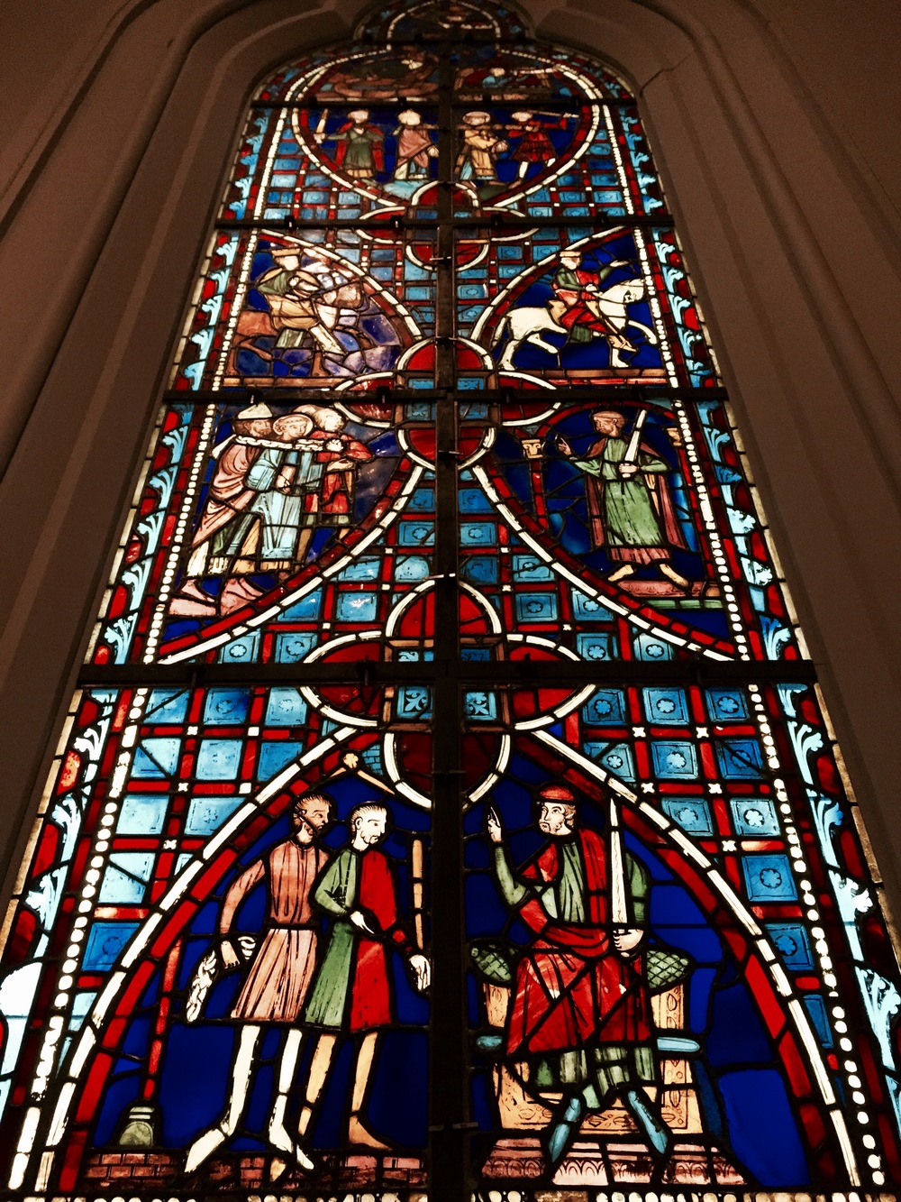 A stained glass window in the Metropolitan Museum of Art.