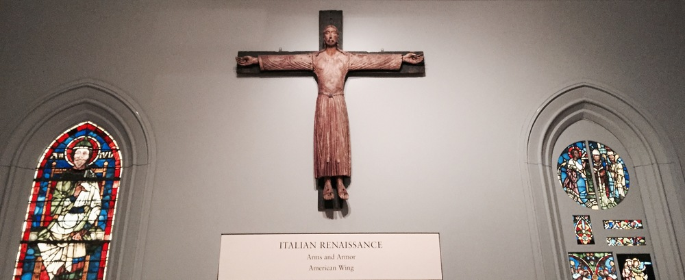 A model of Jesus on the cross, a symbol of the Italian Renaissance.