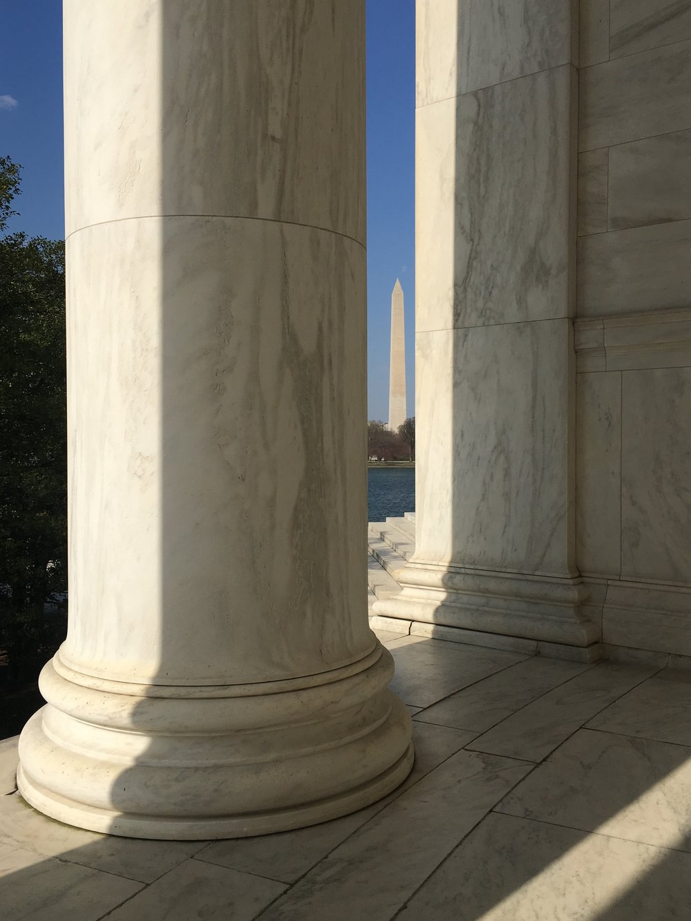 View of the Washington Monument from the Jefferson Memorial.