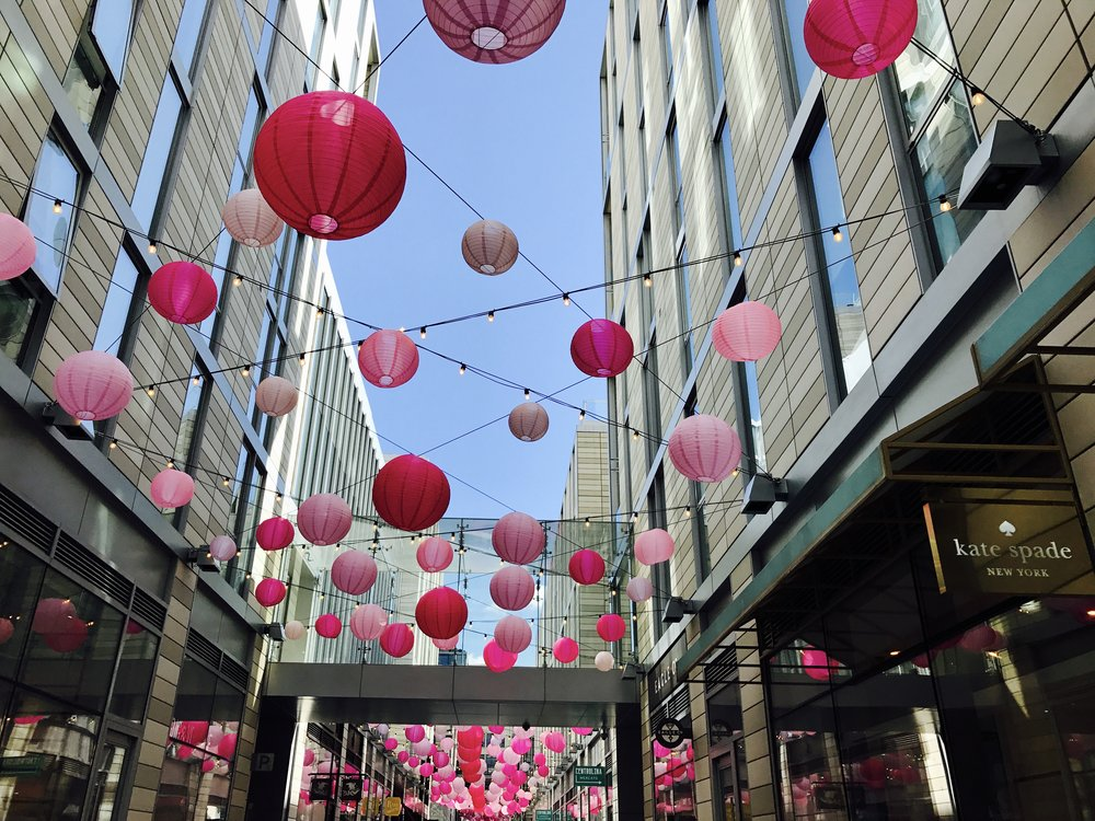 Pink lanterns in D.C. City Center.