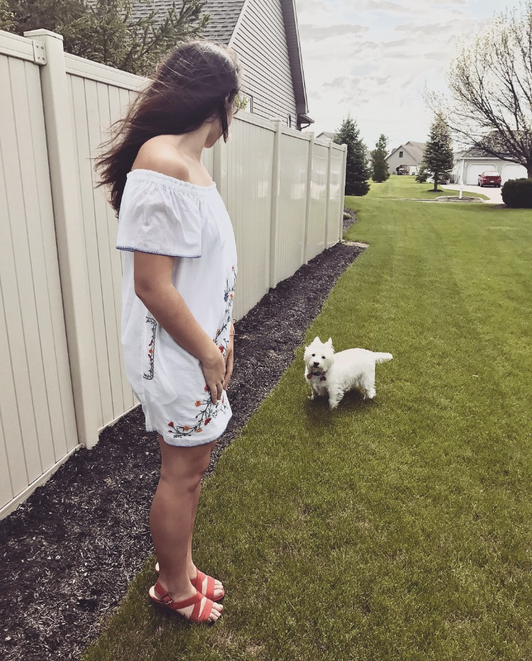 Trying to call my grandparents' dog over to take a picture with me, but he was being a little stubborn at the moment.