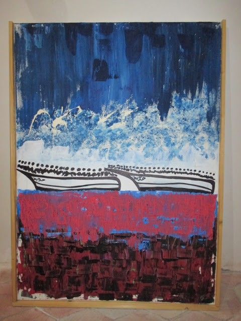 Painting by Ramzi from his Uprooted series, Siracusa, July 2016