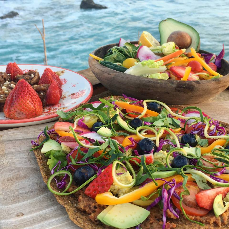 No, you're not dreaming—these are just a few menu items at   Let's be  . Raw pizza, huge alive salad and raw cinnamon rolls.