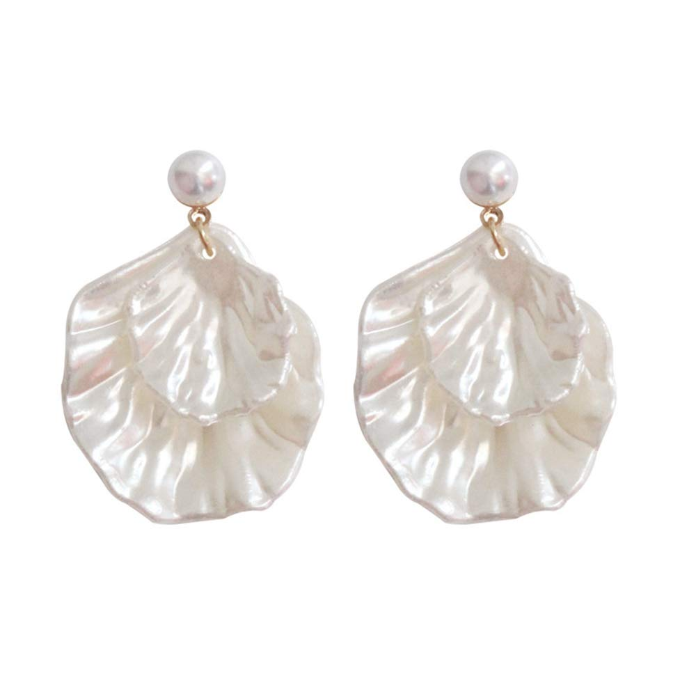 palettei  — Natural Pearl Shell Asymmetric Earrings Double Leaf Holiday Style Earrings —  $8.99