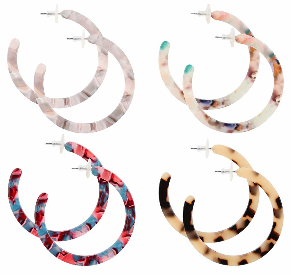 Finrezio  — 4 Pairs Mottled Acrylic Hoop Earrings —  $13.99