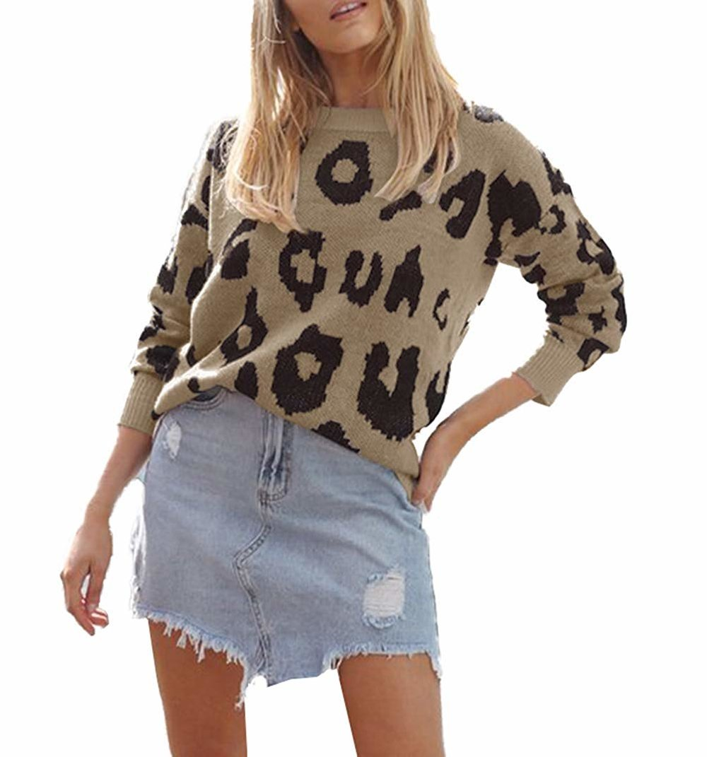 FOUR CLOUR  — Womens Casual Leopard Print Long Sleeve Knitted Pullover Jumper —  $20.98