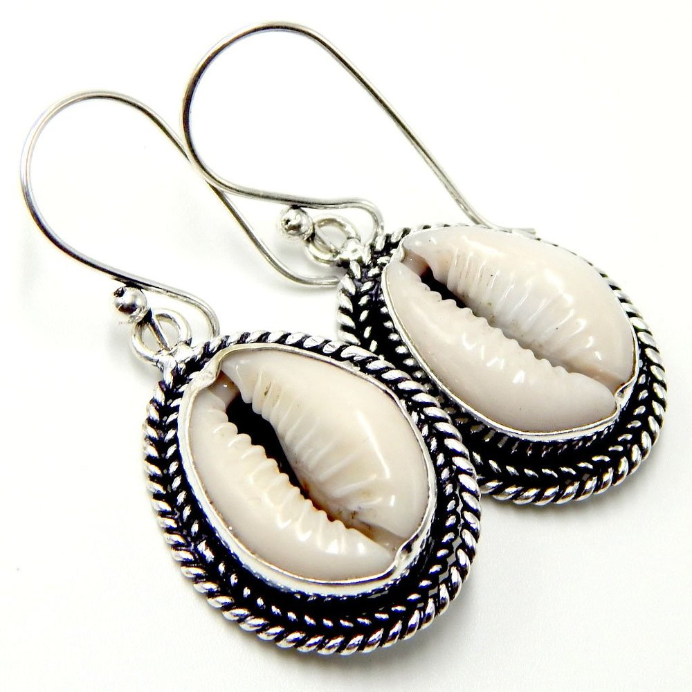 Pratik Jewellers  — Money Cowrie Seashells 925 Sterling Silver Plated Handmade Dangle Earrings 10 Gm AK1 —  $10.99