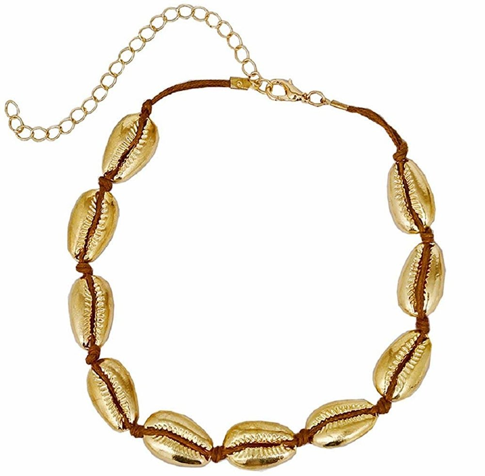 Tooffee  — Handmade Summer Beach Gold Plated Shell Necklace Velvet Rope Necklace —  $9.99