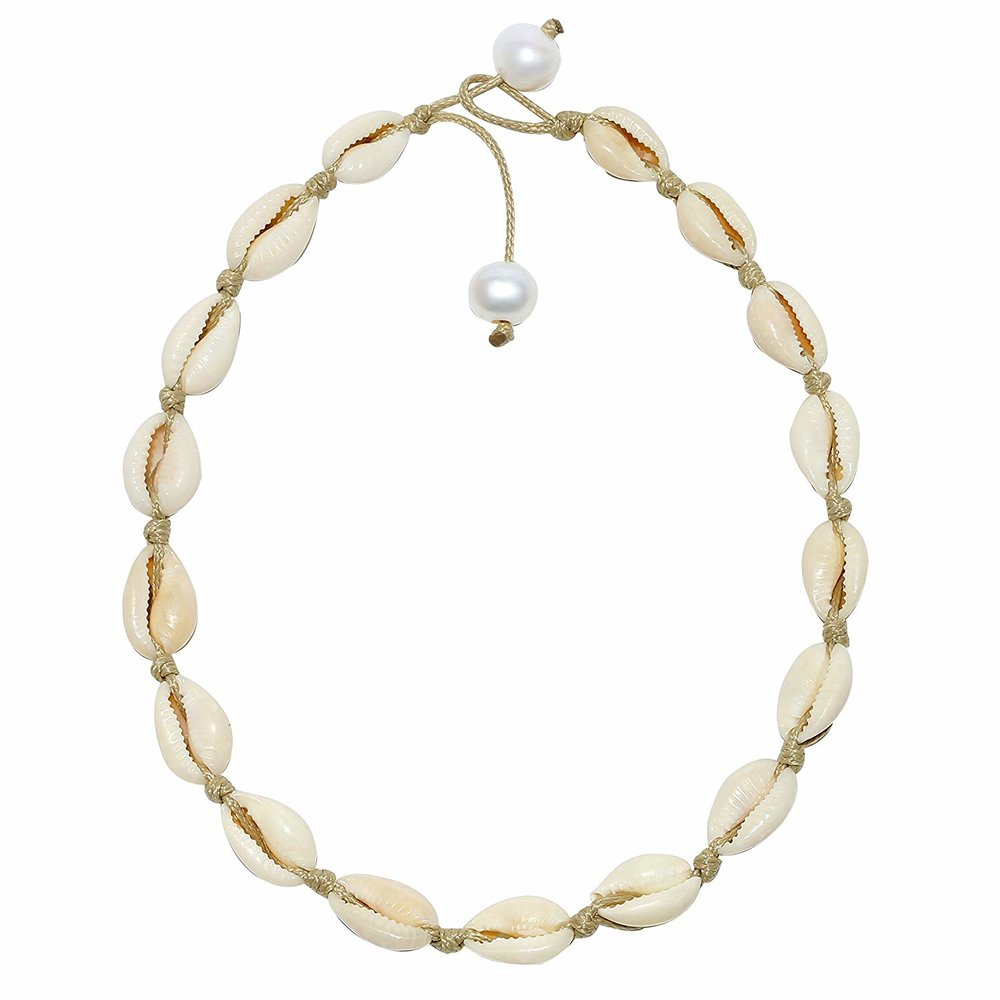 POTESSA  — Natural Shell Beads Handmade Hawaii Wakiki Beach Choker Adjustable —  $11.99