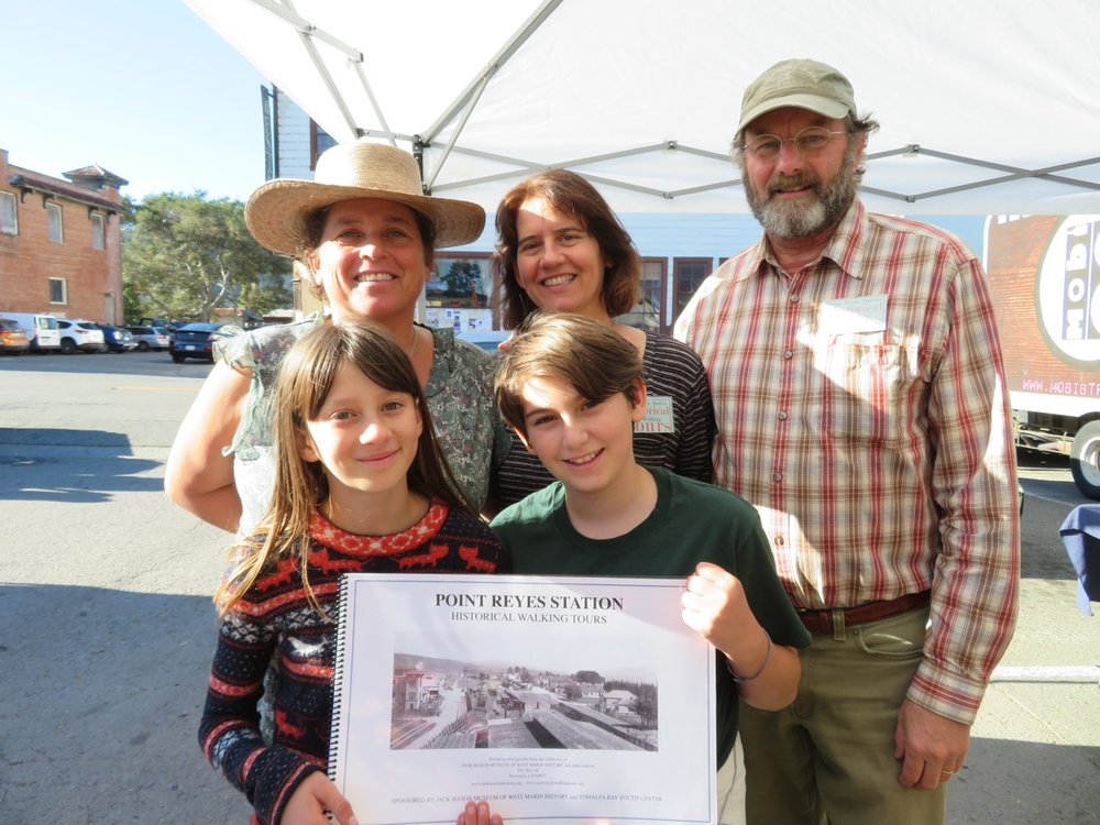 Thank you to our small and mighty team of youth and adult partners who committed to bringing our past West Marin history to this 2018 season. What a great success! Pictured are, two youth guides: Bella and Zoe, our local history mentor and tour guide trainer Dewey Livingston, Rhonda Kutter and Madeline Nieto Hope. Not pictured: youth guides, Ruby, Molli and Jack Mason Museum of West Marin History docent Meg Linden. Additionally, a big thank you to Molly B. Livingston, the great administrative support person that helps keep us all moving in the same direction. We acknowledge our youth guides in training Salomon and Desmond. We look forward to our next season of learning and are pleased to have you on board. Thank you one and all for a terrific season! Thank you to the participants who contributed their stories, their knowledge and insights as we practiced and learned with each other about the great West Marin history. We are grateful for your support.