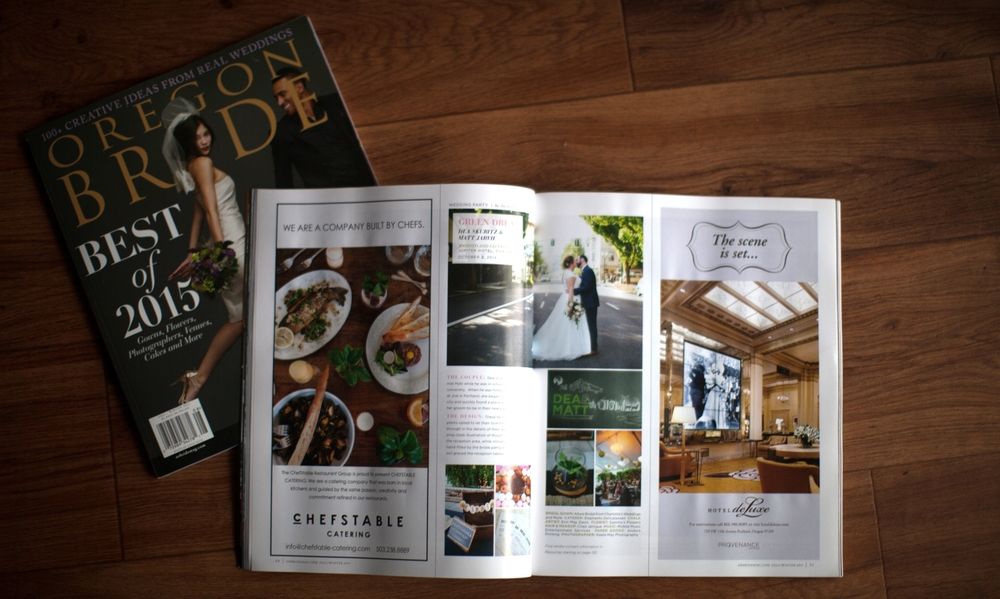 Matt and Dea Jarvie's October wedding featured in the 2015 Fall/Winter issue of Oregon Bride Magazine .
