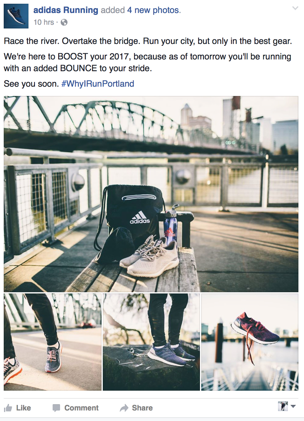 adidas Running Facebook page: #WhyIRunPortland Campaign - January 2017