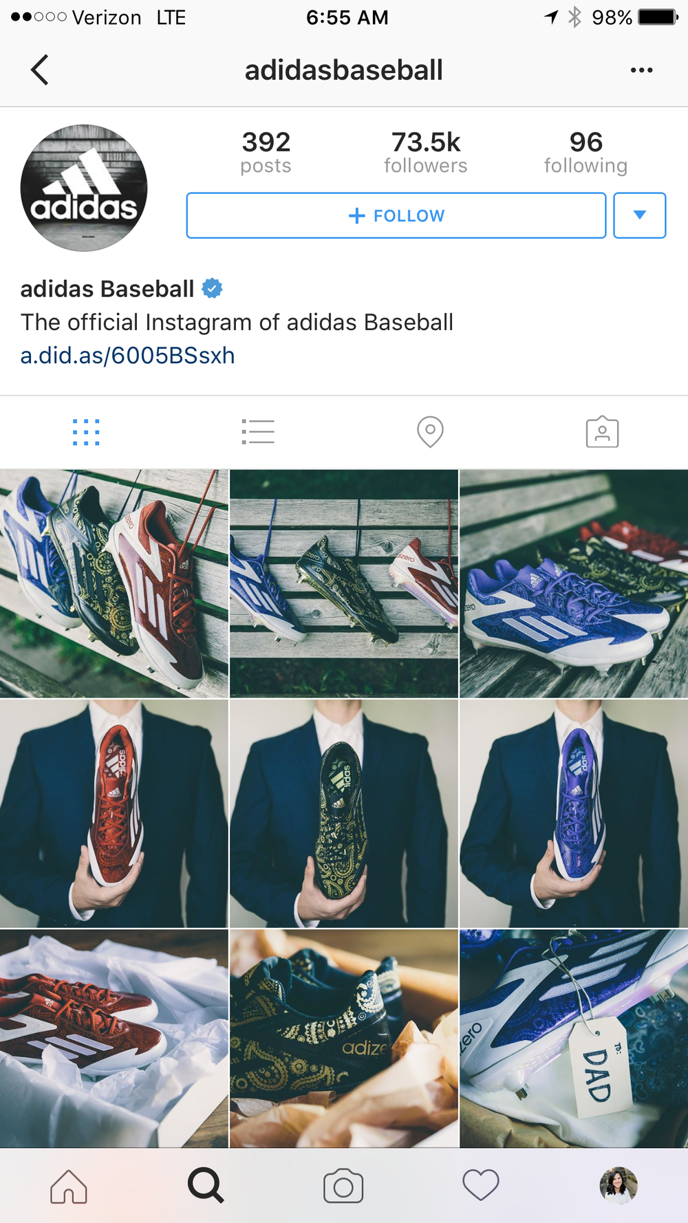 adidas Baseball Instagram Page: Father's Day Cleats - June 2016