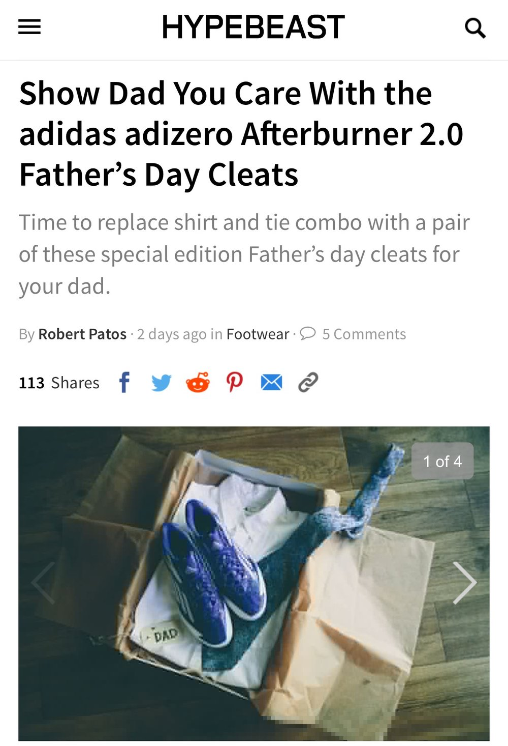 adidas Baseball on Hypebeast - Father's Day Cleats - June 2016
