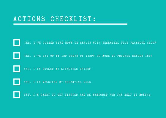 Actions Checklist
