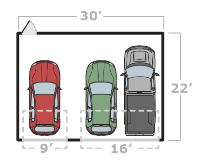 30' x 22' 3-Car Garage