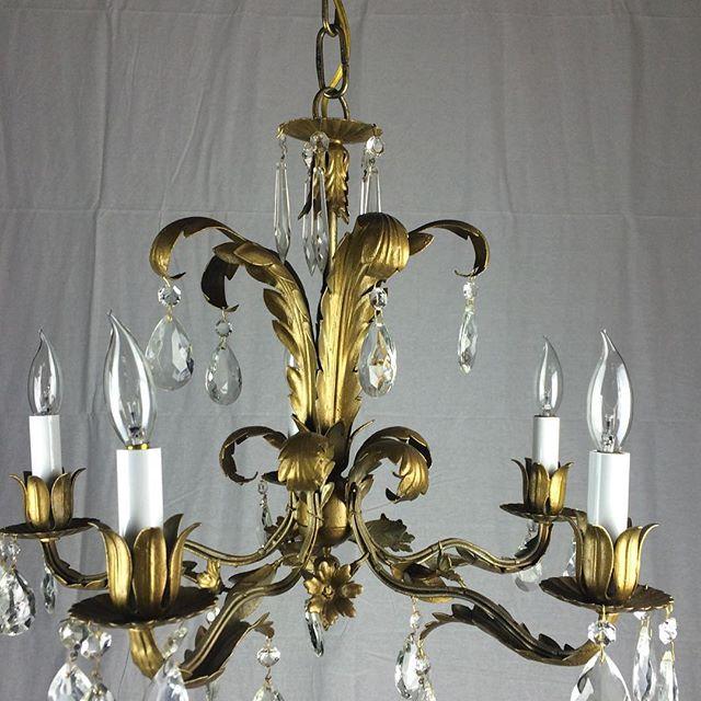 Mid Century Italian Chandelier  #crystalchandelier #midcenturychandelier #oldlightfixture #vintage #vintagelight #midcenturylights #