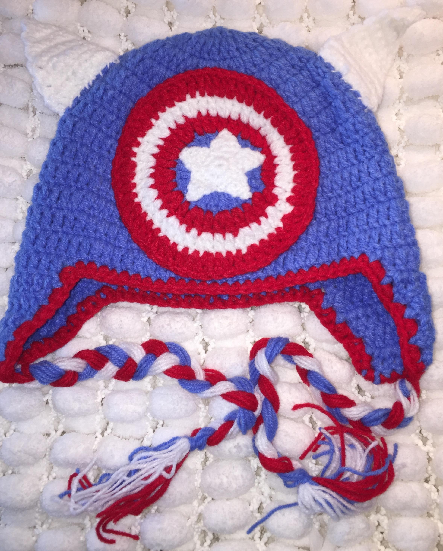 Super Hero Captain America Crochet Hat Made By Jj Co
