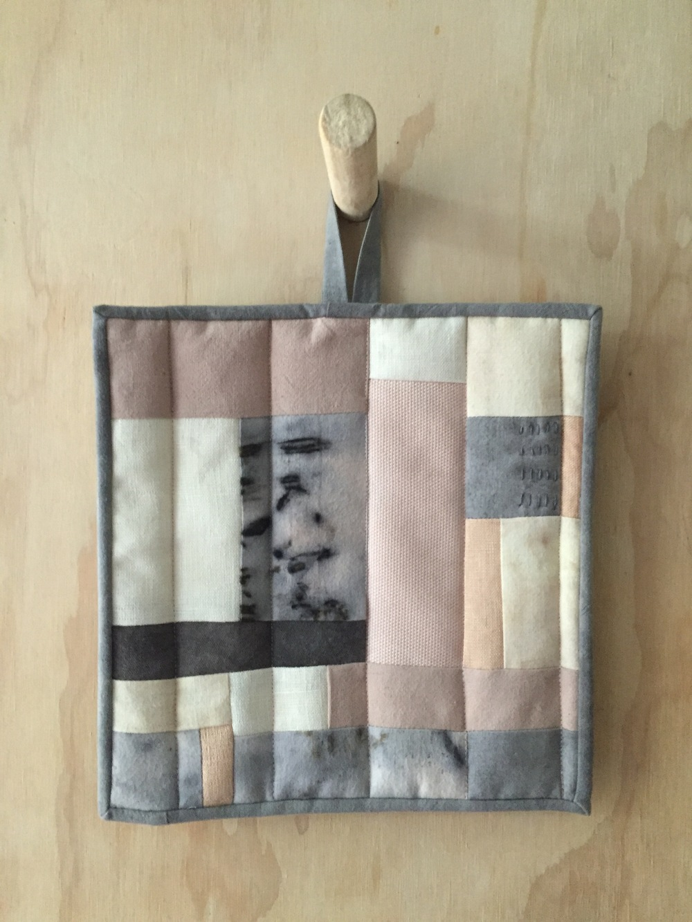 Pot Holder:  Patchwork Experiment using hand dyed material.