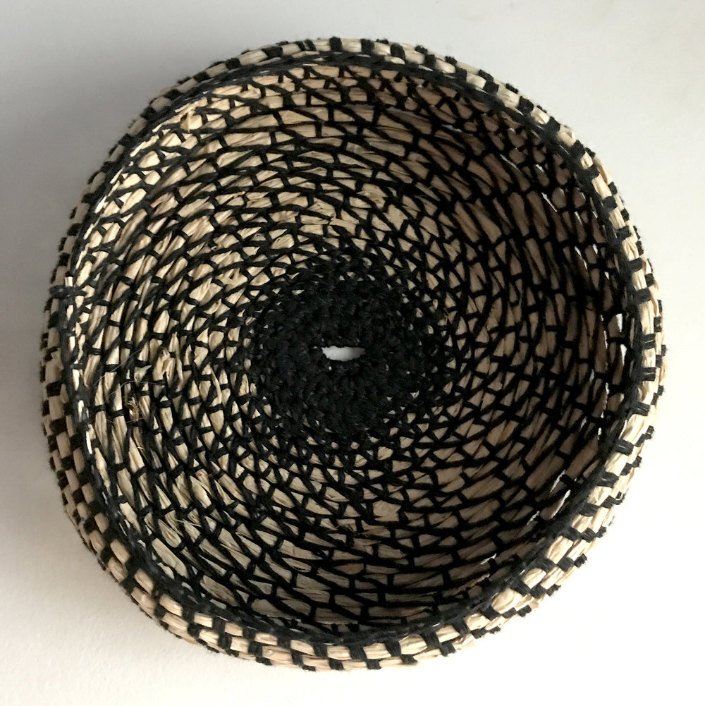 Black crochet  raffia and waxed linen thread