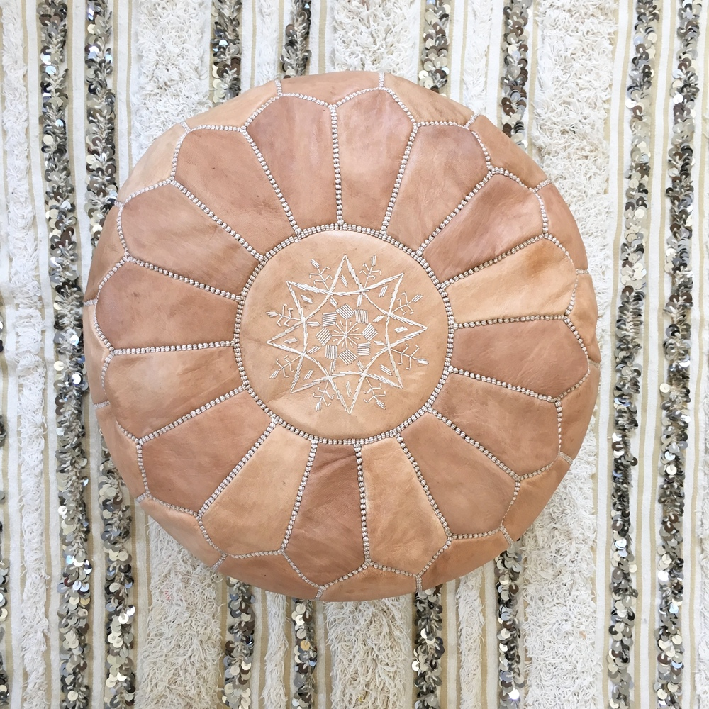 moroccan leather pouf natural - Leather Pouf