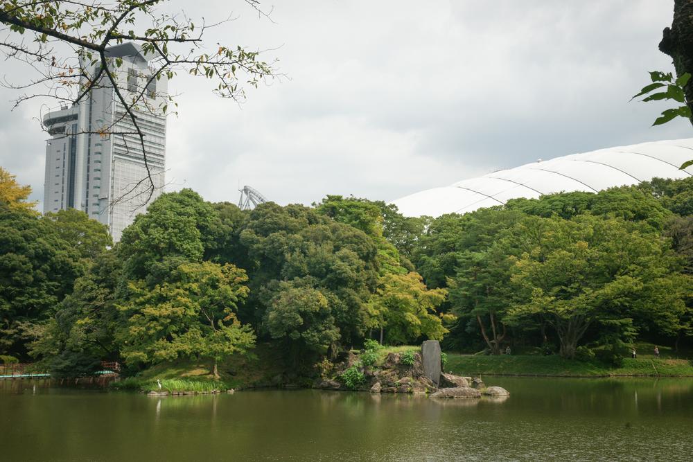 Tokyo Dome beyond the garden