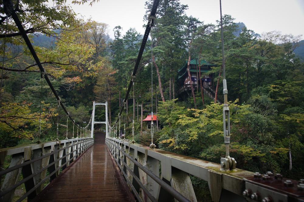 Suspension bridge over Tama River